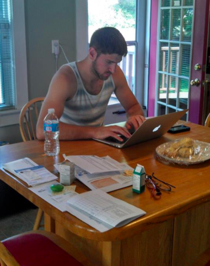 Toiling away in my parents' kitchen 3 years ago (before I went to Vietnam)